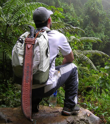 Hiker in Boquete admiring the beauty of the Quetzals' Trail