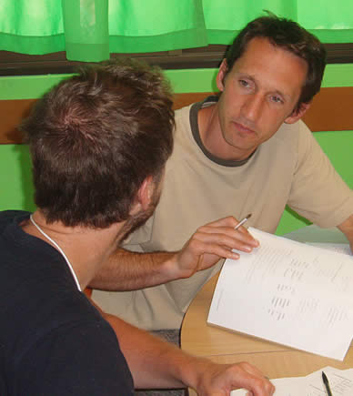 Spanish student with teacher during specialized Spanish class